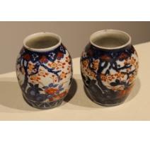 Paire de petits vases Imari décor d'arbres