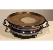 Chauffe-plat rond en métal argenté