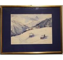 """Aquarelle """"Riederalp"""" signé Marie HEIZEN 1968"""