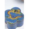 Boite cloisonnée décor dragon, fond bleu