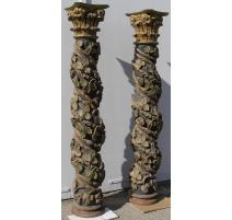 Paire de colonnes Baroque.
