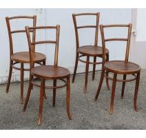 Suite de 4 chaises de bistrot assise ronde Raisins