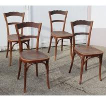 Suite de 4 chaises de bistrot assise Coquille