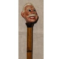 Spazierstock-knauf, Mann mit schnurrbart aus porzellan