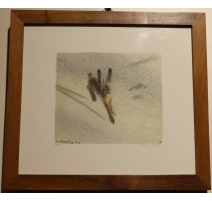"""Engraving """"Hare"""" signed RHYME"""