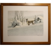 """Engraving """"Lynx in snow"""" signed RHYME"""