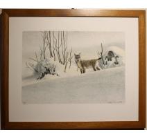 """Gravure """"Lynx dans la neige"""" signée RIME"""