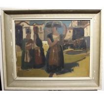 """Tableau """"Femmes au marché"""" signé FUSTIER 44"""