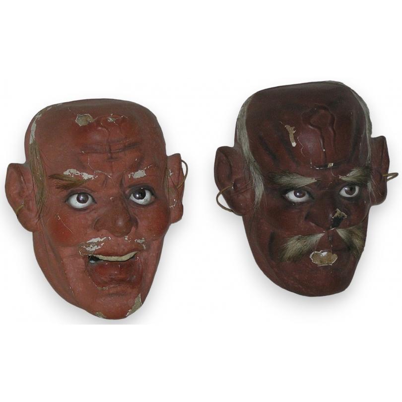 Paire de masques de théatre Nô japonais