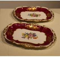 Paire de plats festonnés en porcelaine Ed. HONORÉ