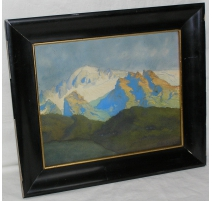 "Watercolour ""View of the Alps""."