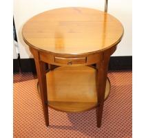 Table bouillote à deux tiroirs et deux tirettes