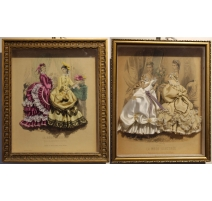 Pair of engravings of fashion honoured in satin