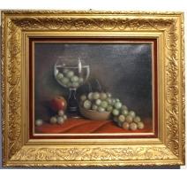 """Tableau """"Le lave raisins"""" signé P. JULIEN"""