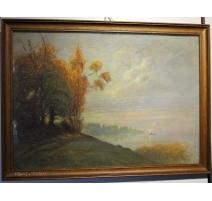 """Pastel """"Saint-Sulpice"""" signé Louis BAUDIT 1922"""