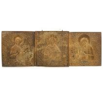 Икона триптих латунь