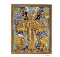 Icon Christ Pantokrator brass enameled
