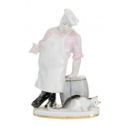 """Figurine """"Chef et un Chat"""" en porcelaine"""