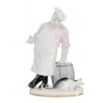 """Figur """"Chef"""" und eine Katze"""" aus porzellan"""