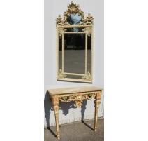 Console et son miroir de style Régence