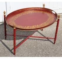 Par de mesas de té de la lata roja y oro