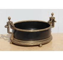 Jardinière oval-porcelain black and bronze