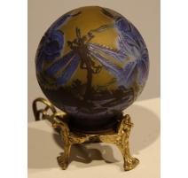 Lampe boule style GALLÉ Libellules bleu et jaune
