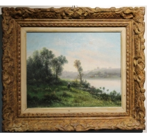 """Table """"the river"""" signed GODCHAUX"""