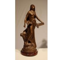 """Statue en régule """"L'inspiration"""" signée MOREAU"""