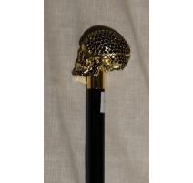 Cane with pommel skull gold and black