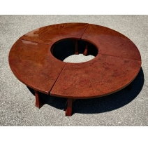 Round coffee Table in red lacquer
