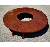 Table basse ronde en laque rouge