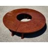 Table basse ronde en laque rouge