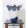 Vase évasé Marble bleu et blanc