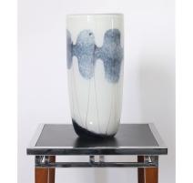 Vase droit Marble bleu et blanc