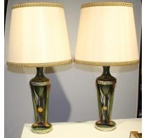 Paire de lampes en tôle verte