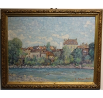 """Table """"Edge of river"""", signed J. BLUMENTHAL"""