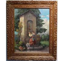 """Tableau """"Fille à la prière"""" signé J. BLUMENTHAL"""