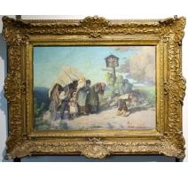 """Картина """"Возвращение с рынка"""", подписанный J. BLUMENTHAL"""