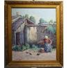 """Tableau """"La lessive"""" signé J. BLUMENTHAL 1948"""