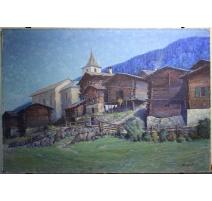 "Tabelle ""Walliser Dorf"", signiert J. BLUMENTHAL"
