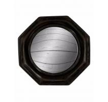 Der konvexe spiegel, rahmen, achteckig, schwarz