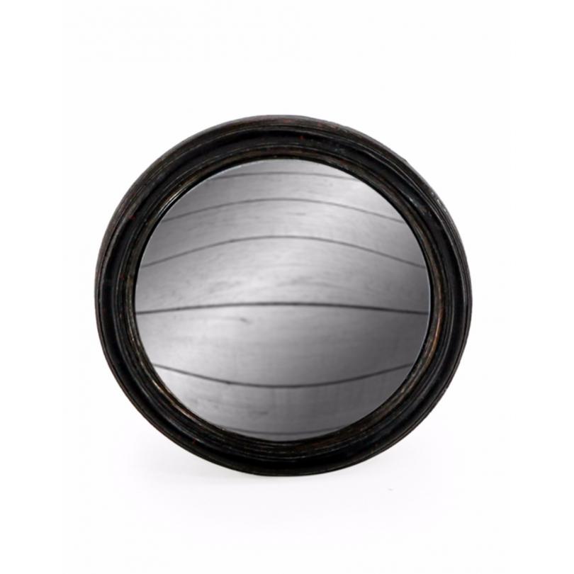 Kleine konvexe spiegel, rahmen rund schwarz