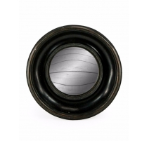 Pequeño espejo convexo marco redondo de color negro profundo