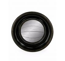 Medio espejo convexo marco redondo de color negro profundo