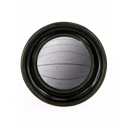 Große konvexe spiegel, rahmen rund, tief schwarz
