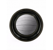Large convex mirror frame round deep black