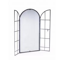 Miroir fenêtre archée en fer gris