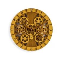 Reloj de pared en madera tallada con piñones