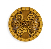 Wall clock in carved wood with cogs